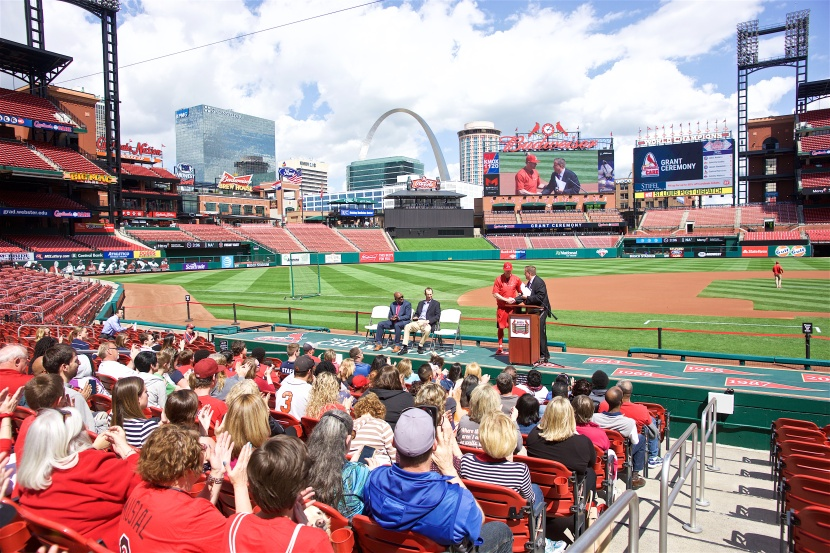 Cardinals Care Grant Ceremony hosted by Dan McLaughlin at Busch Stadium in St. Louis, Missouri on May 4, 2016. Jeremy Hazelbaker was the guest Cardinal in attendance along with Cardinals President Bill DeWitt III and V.P. Michael Hall.